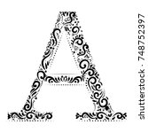decorative letter a with... | Shutterstock .eps vector #748752397