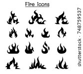 fire icon set vector... | Shutterstock .eps vector #748759537