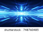 abstract vector blue technology ... | Shutterstock .eps vector #748760485