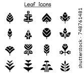 leaf   tree icon set | Shutterstock .eps vector #748761481
