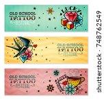 old school tattoo banners set | Shutterstock .eps vector #748762549