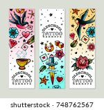 old school tattoo banners set | Shutterstock .eps vector #748762567