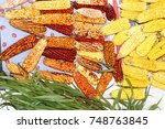 dried ears of corn and... | Shutterstock . vector #748763845