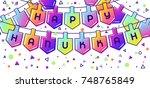 happy hanukkah celebration... | Shutterstock .eps vector #748765849