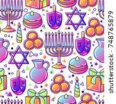 happy hanukkah celebration...   Shutterstock .eps vector #748765879