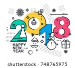 2018 happy new year trendy and... | Shutterstock .eps vector #748765975