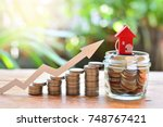 coins money setting growth up... | Shutterstock . vector #748767421