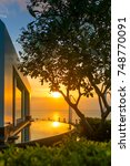 beautiful tropical resort and... | Shutterstock . vector #748770091