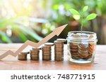 coins money saving setting... | Shutterstock . vector #748771915