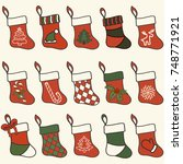 christmas socks vector set. red ... | Shutterstock .eps vector #748771921