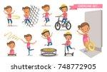 exercise little girl set. sport ... | Shutterstock .eps vector #748772905