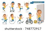 exercise boy set with play... | Shutterstock .eps vector #748772917
