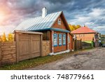 wooden russian house on... | Shutterstock . vector #748779661
