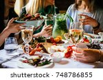 party dinner table  celebrating ... | Shutterstock . vector #748786855