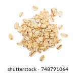 oat flakes isolated on white... | Shutterstock . vector #748791064