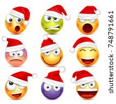 smiley emoticon set. yellow... | Shutterstock .eps vector #748791661