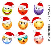 smiley emoticon set. yellow... | Shutterstock .eps vector #748791679