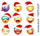 smiley emoticon set. yellow... | Shutterstock .eps vector #748791829