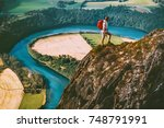 hiking adventure in norway...   Shutterstock . vector #748791991