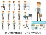 businessman in different poses... | Shutterstock .eps vector #748794007