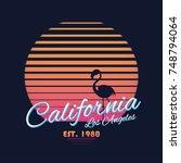 80s style vintage california... | Shutterstock .eps vector #748794064