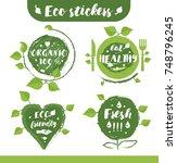 eco stickers | Shutterstock .eps vector #748796245