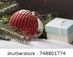 christmas decorative elements... | Shutterstock . vector #748801774