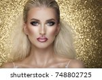 sensual beautiful blonde woman... | Shutterstock . vector #748802725