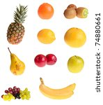 different fruits on white... | Shutterstock . vector #74880661