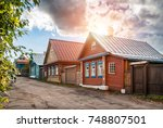 wooden russian houses on... | Shutterstock . vector #748807501