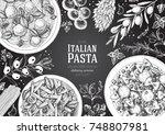 italian pasta frame. hand drawn ... | Shutterstock .eps vector #748807981