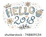 modern funny lettering hello...   Shutterstock .eps vector #748809154