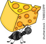 ant carrying slice of cheese | Shutterstock .eps vector #748810399