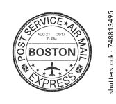 black round boston postmark for ... | Shutterstock .eps vector #748813495