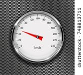 speedometer. round gage with... | Shutterstock .eps vector #748813711