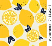 fresh lemons background. hand... | Shutterstock .eps vector #748816249