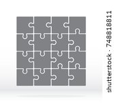 simple icon puzzles in grey.... | Shutterstock .eps vector #748818811