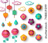 Chinese Decorative Icons, Clouds, Flowers and Chinese Lights in Modern 3d Paper cut style. Vector Illustration. Sakura, Peony and Lanterns. | Shutterstock vector #748819399