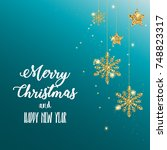 merry christmas and happy new... | Shutterstock . vector #748823317