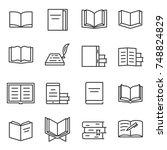 books icon set. printed...