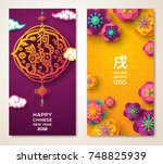 2018 chinese new year greeting... | Shutterstock .eps vector #748825939