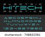 futuristic vector font design.... | Shutterstock .eps vector #748832581