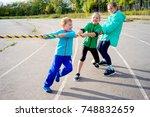 kids on a stadium | Shutterstock . vector #748832659