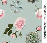 succulents and roses vector...   Shutterstock .eps vector #748836004