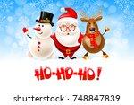 merry christmas   hohoho  ...   Shutterstock .eps vector #748847839
