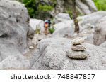 Stacked Stones Marked A Hiking...