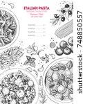 italian pasta frame. hand drawn ...   Shutterstock .eps vector #748850557