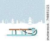 lovely snowy winter landscape... | Shutterstock .eps vector #748851121