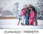 family  ski  sun and fun on... | Shutterstock . vector #748858795