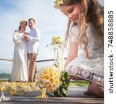 happy newlyweds couple in... | Shutterstock . vector #748858885